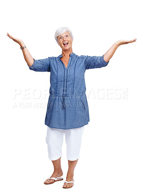Buy stock photo Portrait of a very happy mature woman with her arms raised isolated over white background