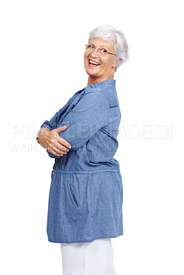 Buy stock photo Portrait of a smart old lady standing with arms crossed isolated against white background