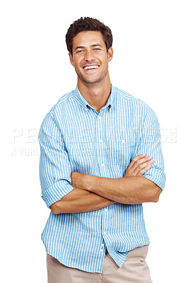 Buy stock photo Portrait of a stylish young man standing with hands folded over white background