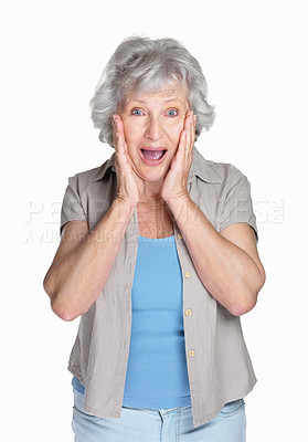 Buy stock photo Portrait of a surprised senior woman with hands on chin against white background