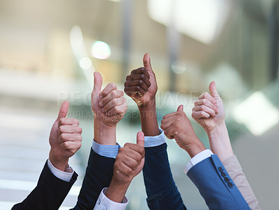 Buy stock photo Cropped shot of a group of hands showing thumbs up