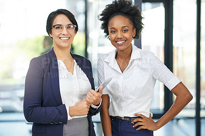 Buy stock photo Cropped portrait of two businesswomen standing outside the boardroom before their presentation