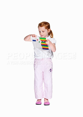Buy stock photo Full length of an innocent girl playing with abacus isolated against white