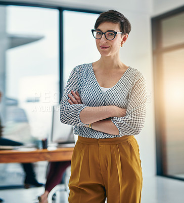 Buy stock photo Portrait of a confident young creative standing in an office