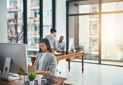 Buy stock photo Cropped shot of creatives working in a modern office