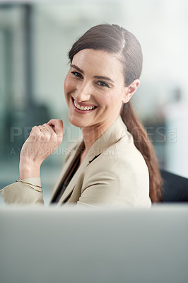 Buy stock photo Portrait of a happy businesswoman working in a modern office