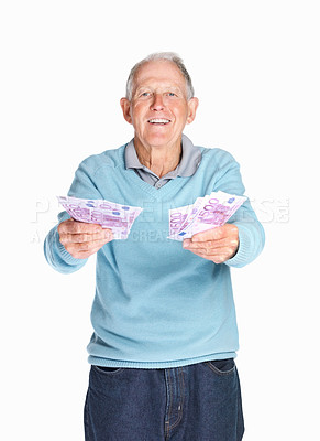 Buy stock photo Portrait of a happy elderly man holding currency notes isolated against white