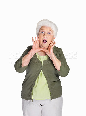 Buy stock photo Portrait of a surprise mature woman isolated against white background