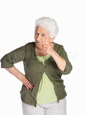 Buy stock photo Portrait of an angry woman pointing at you isolated against white