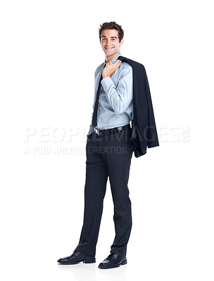 Buy stock photo Happy young bussinessman with coat on shoulder isolated on white background