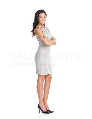 Buy stock photo Full length portrait of confident young woman standing with hands folded on white background