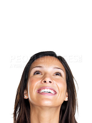 Buy stock photo Closeup of young woman smiling face looking up at copyspace on white