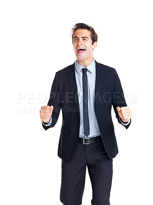 Buy stock photo Portrait of excited young businessman enjoying success isolated on white background