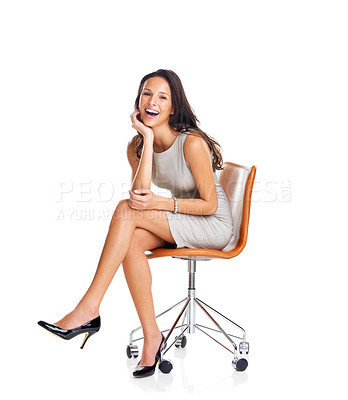 Buy stock photo Portrait of beautiful young woman sitting on chair isolated over white background