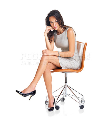 Buy stock photo Portrait of stunning young lady sitting on chair isolated over white background