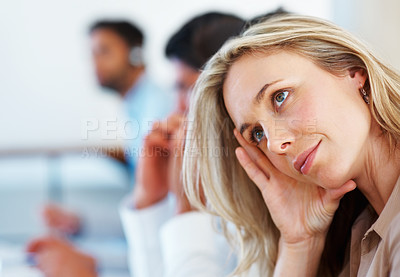 Buy stock photo Closeup of beautiful business woman smiling with colleagues in background