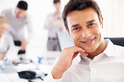 Buy stock photo Closeup portrait of happy business man with colleagues in background