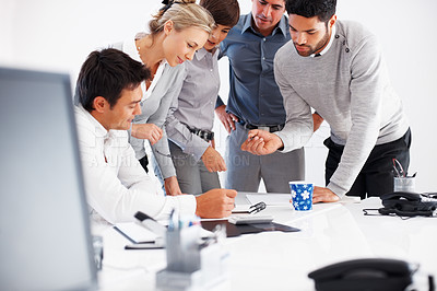 Buy stock photo Business people discussing on project in board room