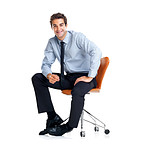 Handsome young businessman sitting on chair over white