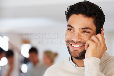 Buy stock photo Closeup of business man using cellphone with colleagues in background - copyspace