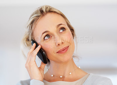 Buy stock photo Closeup of attractive business woman listening to call on cellphone