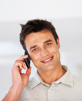 Buy stock photo Closeup of smart business man on phone smiling and looking at you