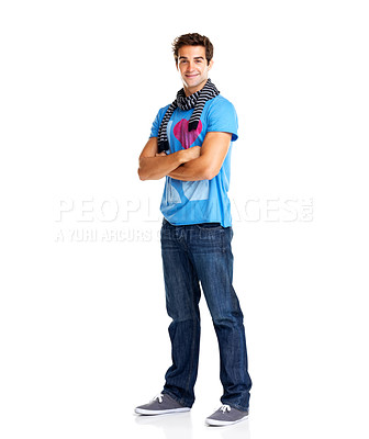 Buy stock photo Portrait of young male fashion model standing with hands folded isolated on white background