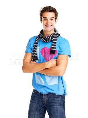 Buy stock photo Handsome young male model with hands folded against white background