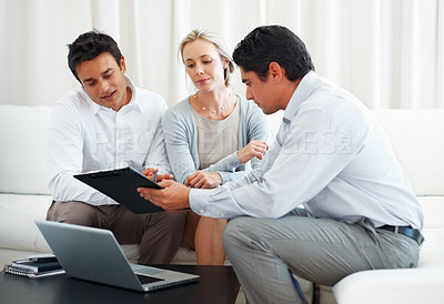 Buy stock photo Business couple in conversation with consultant