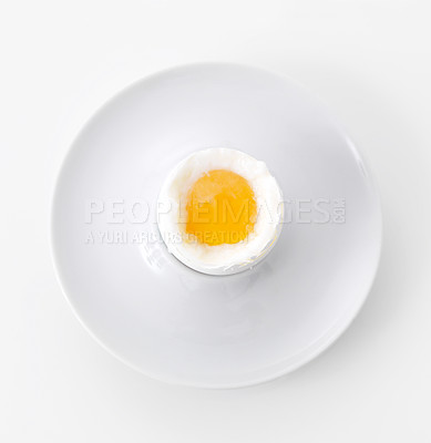 Buy stock photo One soft boiled egg in eggcup isolated on white background