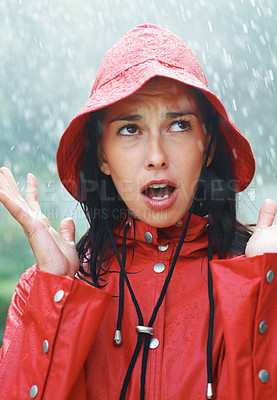 Buy stock photo Woman frustrated with the rain