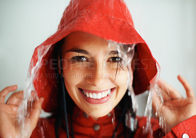 Buy stock photo Closeup of woman getting rained on indoors