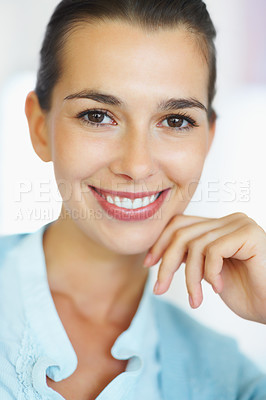 Buy stock photo Closeup of happy woman smiling with hand on chin