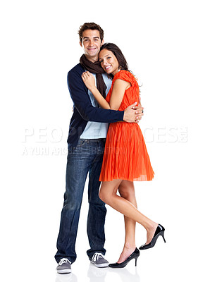 Buy stock photo Portrait of romantic young couple hugging each other on white background