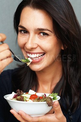 Buy stock photo Happy woman ready to eat salad
