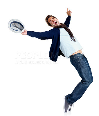 Buy stock photo Happy young man showing dance moves isolated on white background