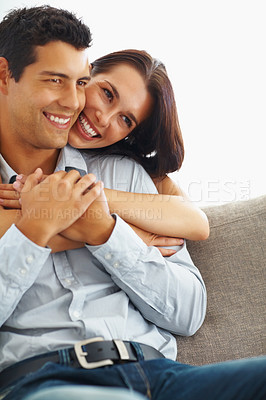 Buy stock photo Portrait of smiling woman embracing her boyfriend from behind