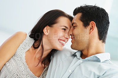 Buy stock photo Young joyful couple spending time together