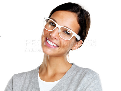 Buy stock photo Portrait of charming young female in glasses looking happy against white background