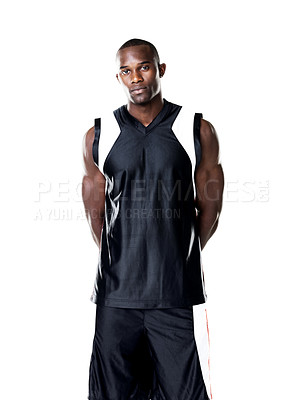 Buy stock photo Portrait of a handsome young male sportsperson standing against white background