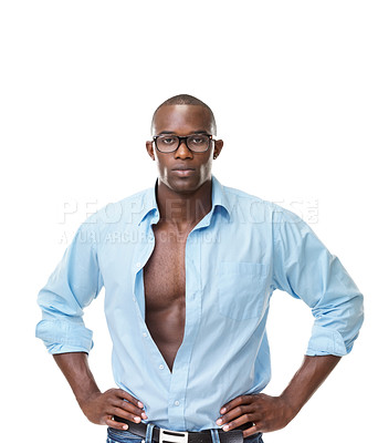 Buy stock photo Portrait of a hansome young black male standing confidently with his hands on waist against white background