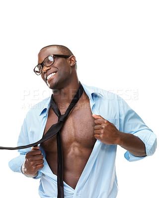 Buy stock photo Portrait of a young man showing off his muscle against white background