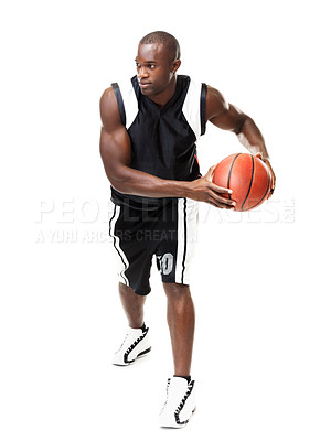 Buy stock photo Portrait of an african american male basketball player playing against white background