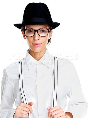 Buy stock photo Portrait of a beautiful young woman in glasess and hat against white background