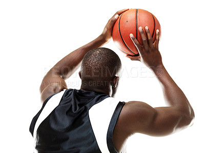 Buy stock photo Rear view of a male basketball player taking a free throw isolated on white background