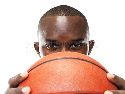 Buy stock photo Closeup portrait of a young black male holding the basketball against white background