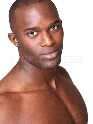 Buy stock photo Closeup portrait of a strong young man looking happy agasint white background