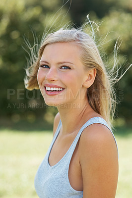 Buy stock photo Closeup portrait of beautiful woman giving you friendly smile