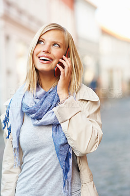 Buy stock photo Pretty young woman talking on phone