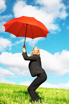 Buy stock photo Portrait of business woman holding red umbrella